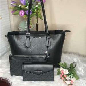 Michael Kors Purse 3 Pcs Set Black Color Set